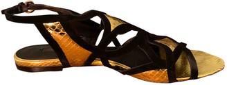 Louis Vuitton Gold Suede Sandals