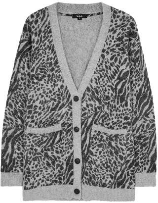 Rails Oslo grey leopard-intarsia cardigan