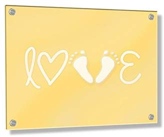Camilla And Marc Feel Good Art Wall Mounted Acrylic Frame with Stand-Off Bolts (30 x 20 x 0.6 cm, Small, Buttercup Yellow, Love Footprint/Newborn Gift, Nursery Dècor)