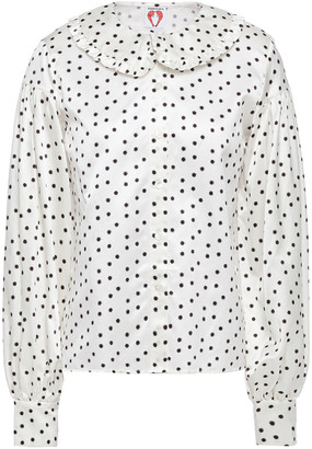 Shrimps Ruffle-trimmed Floral-print Cotton And Silk-blend Satin Shirt