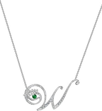 Tabayer Eye 18K White Gold, Diamond Emerald Wise Pendant Necklace