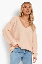 boohoo Sasha Oversized V Neck Jumper