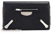 Balenciaga Metal Plate Leather Shoulder Bag