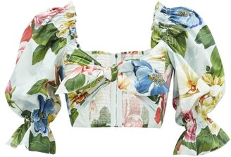 Dolce & Gabbana Tie-front Rose And Orchid-print Cotton Cropped Top - Blue Print