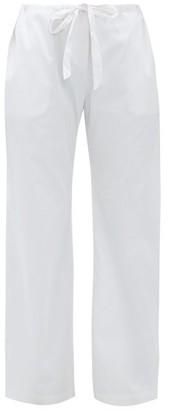 Rossell England - Wide-leg Cotton-sateen Pyjama Trousers - Womens - Light Blue