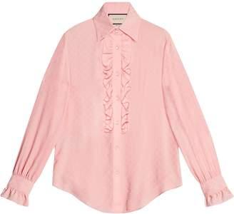 Gucci GG silk ruffle shirt