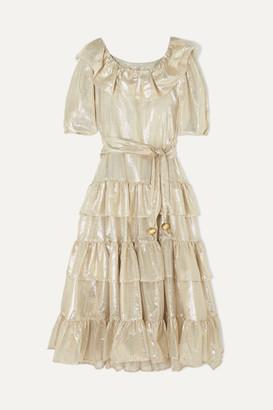 Lisa Marie Fernandez Eugenie Ruffled Tiered Metallic Cotton-blend Dress - Gold