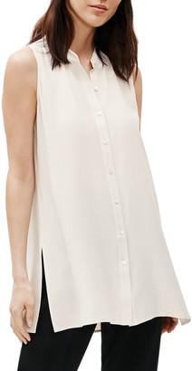 Eileen Fisher Plus Size Silk Georgette Crepe Sleeveless Mandarin-Collar Shirt