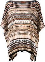 Missoni striped knitted poncho - women - Cotton/Polyamide/viscose - One Size