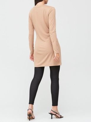 Very Soft Touch Twist Detail Tunic - Camel