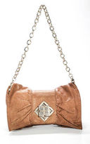 BCBGMAXAZRIA Brown Embossed Leather Chain Strap Bow Shoulder Handbag