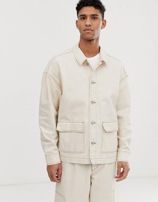 ASOS two-piece denim jacket in ecru