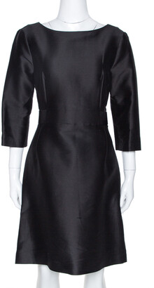 Balenciaga Black Cotton and Silk Blend Belted Three Quarter Sleeve Dress S