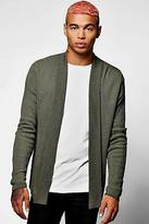 boohoo Mens Ribbed Contrast Edge To Edge Cardigan