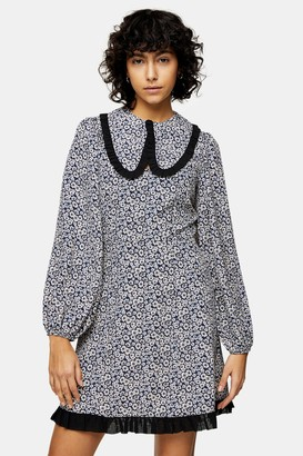 Topshop Collar Floral Print Mini Dress