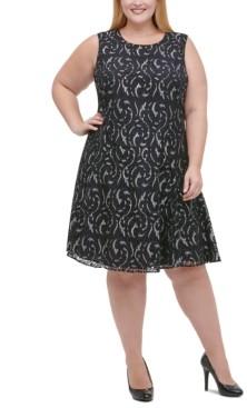 Tommy Hilfiger Plus Size Metallic Lace Fit & Flare Dress