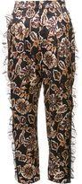 Rodarte floral print tulle detail tapered trousers - women - Silk/Polyamide/Viscose - 2