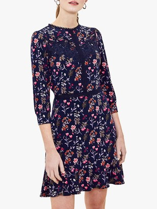 Oasis Floral Lace Detail Flared Dress, Navy/Multi
