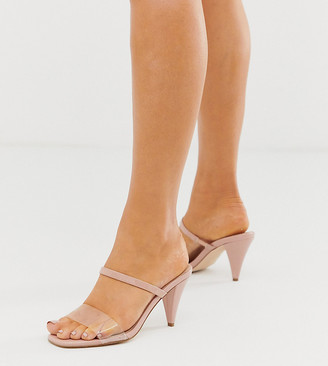 ASOS DESIGN Wide Fit Wow clear mid-heeled sandals in beige