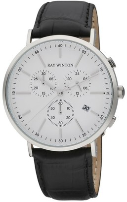 Ray Winton Men's Date Chronograph White Dial Croc-Embossed Genuine Black Leather Watch