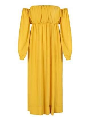 Deer Lady Womens Chiffon Off Shoulder High Split Club Long Maxi Dress S