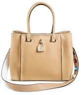 Cesca Women's Medium Tote with Lock Detailing and Embellished Detachable Strap - Pebble