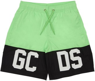 GCDS Logo Print Nylon Swim Shorts