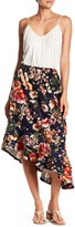 Bobeau Asymmetrical Ruffle Hem Midi Skirt