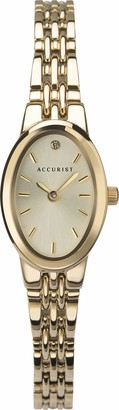 Accurist Women's Quartz Watch with Silver Dial Analogue Display and Gold Stainless Steel Bracelet Lb1336G