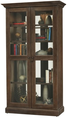 Howard Miller Lennon Modern Rustic, Country Cottage, Medium Brown Wood, Tall, 5-Shelf Living Room Curio Cabinet