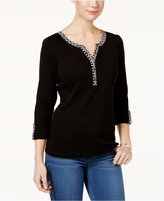 Karen Scott Petite Contrast-Trim Henley Top, Only at Macy's