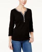 Karen Scott Roll-Tab Cotton Henley T-Shirt, Only at Macy's