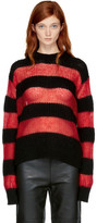 McQ Black & Red Striped Crewneck Sweater