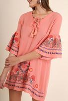 Umgee USA Embroidered Bell Sleeve Dress
