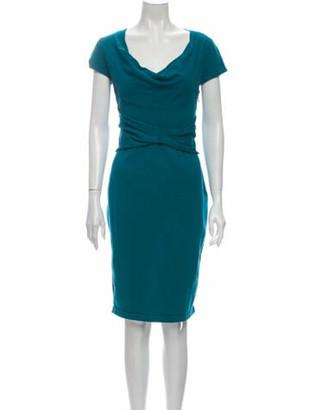 Valentino Cowl Neck Knee-Length Dress Blue