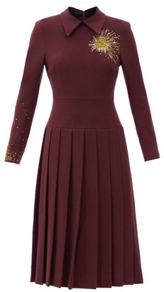Duncan - Alchemist Bleeding Heart Beaded Wool-blend Dress - Burgundy