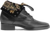 Etro Embellished Velvet And Leather Ankle Boots - Black