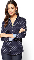New York & Co. 7th Avenue SecretSnap Madison Stretch Shirt - Navy - Polka Dot - Petite