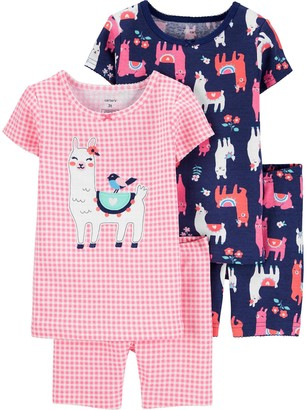 Carter's Baby Girl 4 Piece Llamas Pajama Set