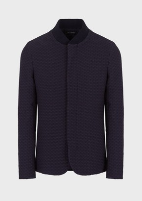 Emporio Armani Jacket With Guru Collar In Embossed, Two-Way Stretch Fabric