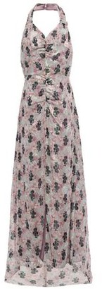 Anna Sui Ruched Printed Fil Coupe Silk-blend Halterneck Gown