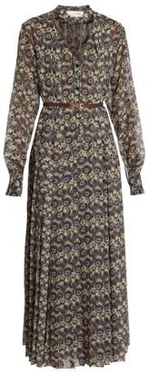 Victoria Beckham Printed Silk Belted Shirtdress