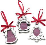 Mikasa Set of 3 Silver Plated Frame Christmas Ornaments