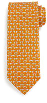 Salvatore Ferragamo Hummingbird-Print Silk Tie, Orange