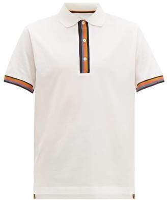 Paul Smith Artist Stripe Trimmed Cotton Pique Polo Shirt - Mens - White