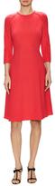 Oscar de la Renta Wool 3/4 Sleeve Flared Dress