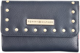 Tommy Hilfiger Studded Pebble Leather Medium Flap Wallet