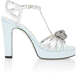 Gucci Women's Embellished Leather & Moire Platform Sandals - Silver