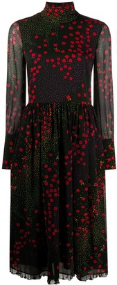 RED Valentino Floral-Print Mid-Length Dress