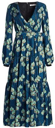 Borgo de Nor Sol Leopard Print Floral Silk Wrap Dress